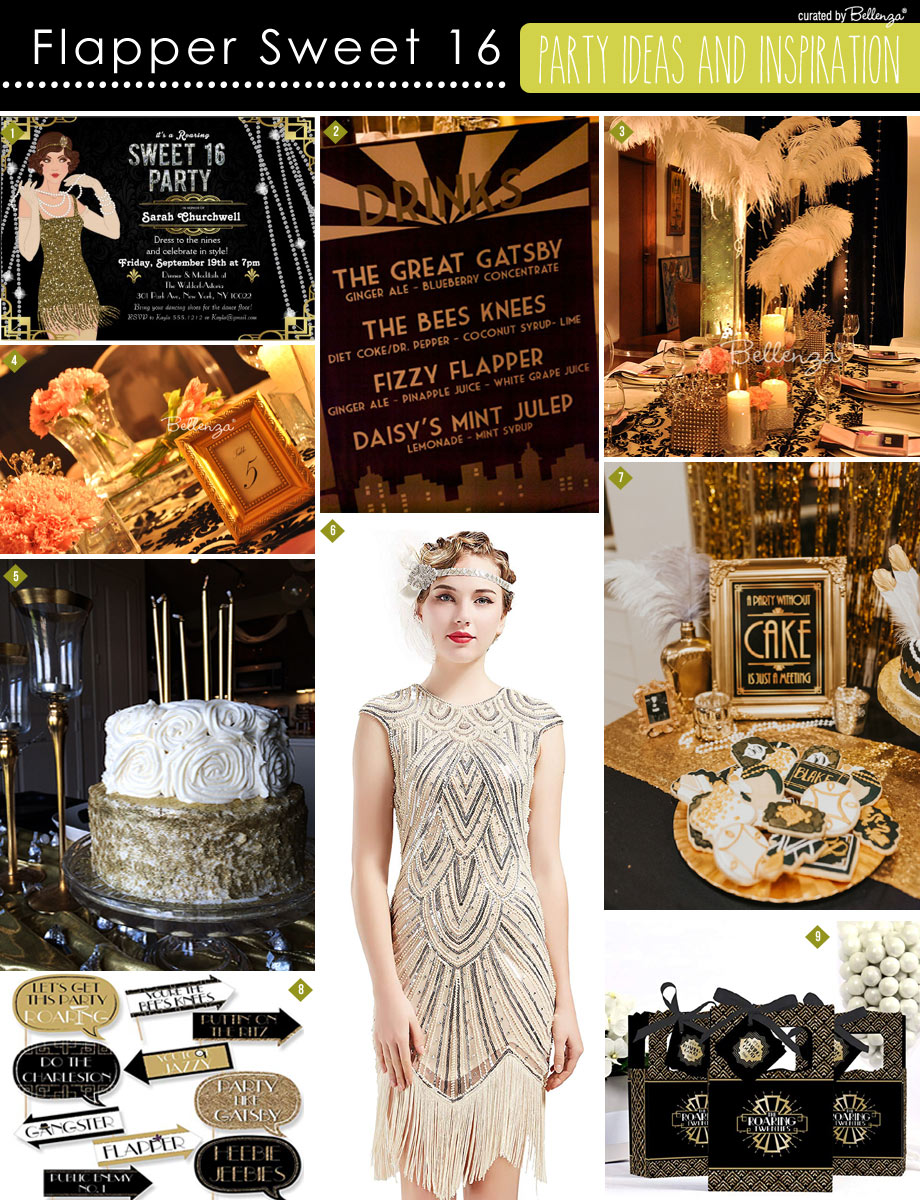 Black and Gold Flapper Sweet 16 Ideas
