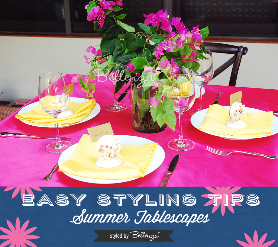 Fuchsia and yellow tablescape // Easy styling tips for summer tablescapes