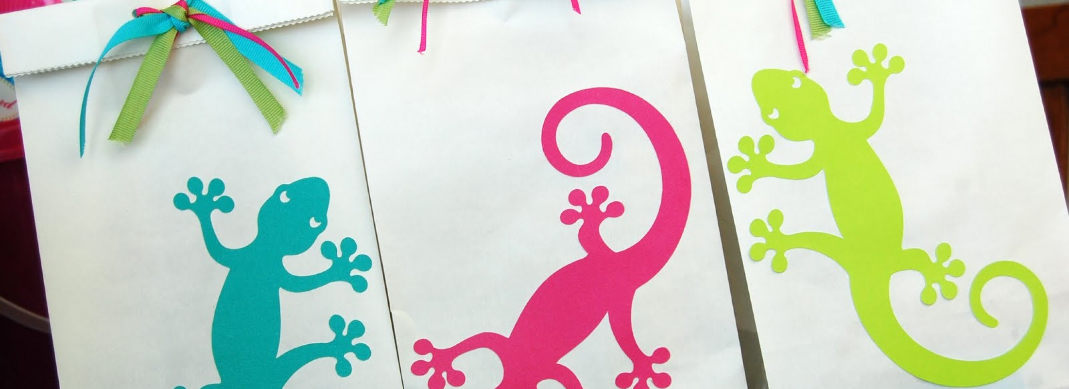 A beach birthday party for a little girl with a girly gecko theme gecko loot bags by pen n paper flowers mightylinksfo