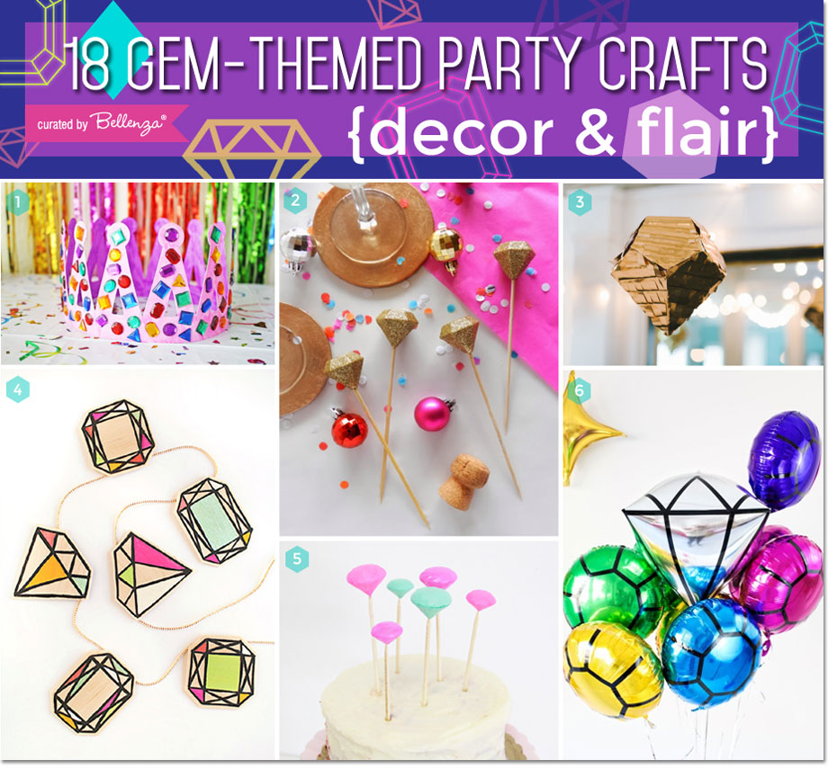 Gem themed party crafts, decorations, gem balloons, and gem pinatas.