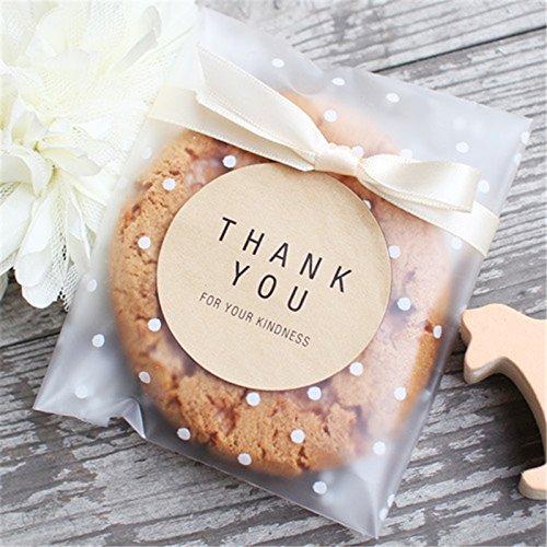 #12  Translucent Dots Plastic Cookie Packaging Self Adhesive Bags from Saasiiyo via Amazon