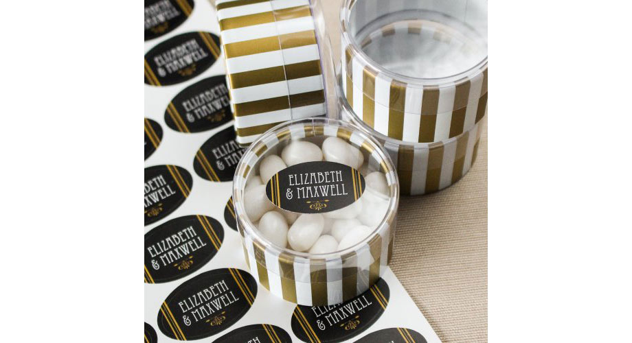 Black and gold labels for a favor box with gold stripes