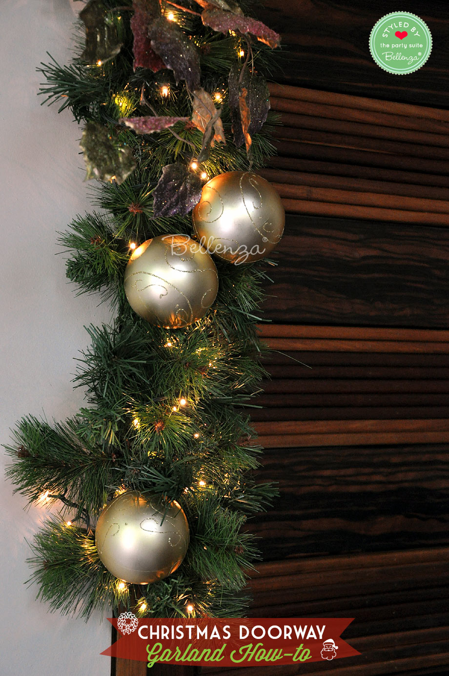 Golden baubles on Christmas garland doorway // Bellenza