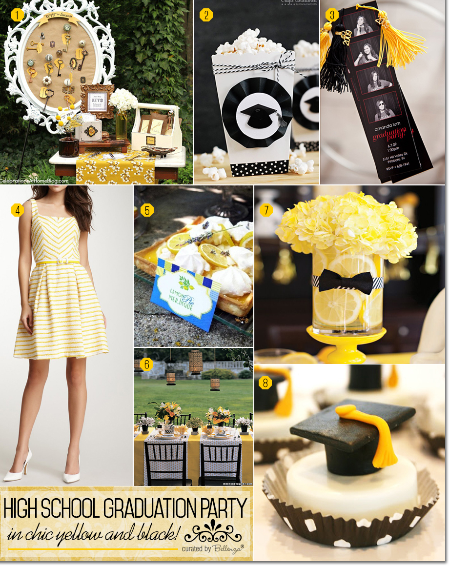 A High School Graduation Party in Chic Yellow and Black