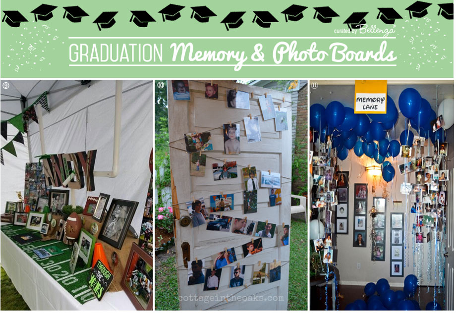 Graduation memory board display tables and balloons.