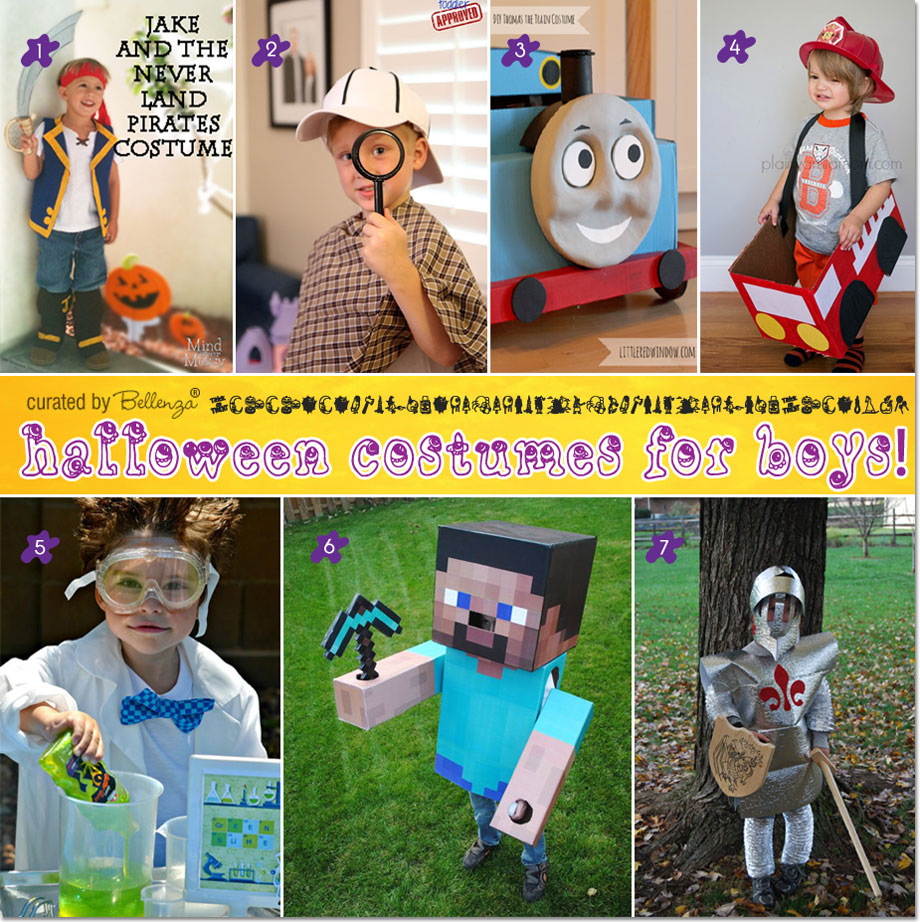 Halloween Costumes DIY for Little Boys such as Pirate, Detective, Thomas, Minecraft Steve, and Fireman Truck.
