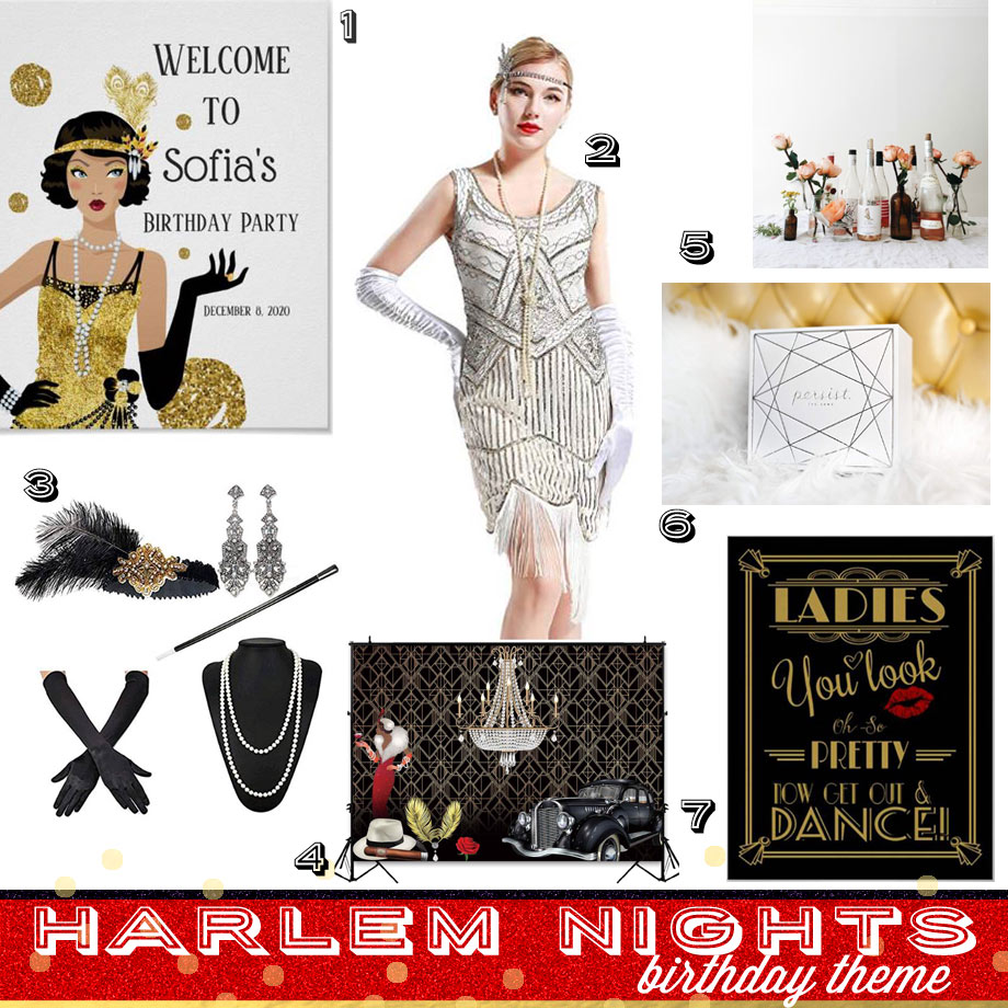 Harlem Nights Birthday Props and Activities