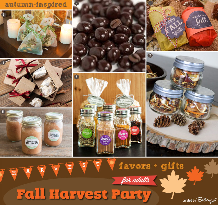 Harvest party favor and gift ideas for guests.