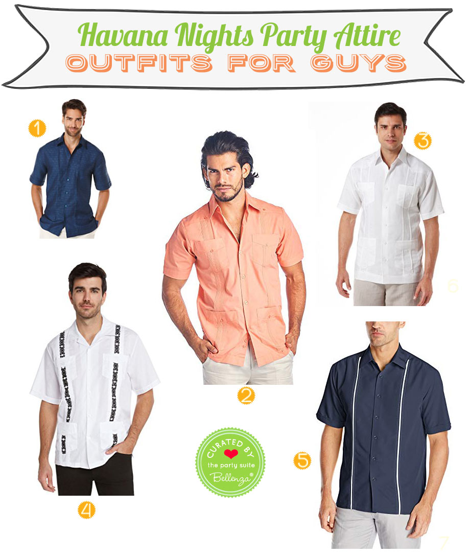 Attire for Men. Guayabera Shirts for a Havana or Cuban Night Party