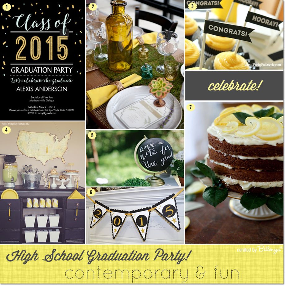 Yellow and black grad party with fun and modern touches as featured on the Party Suite at Bellenza!