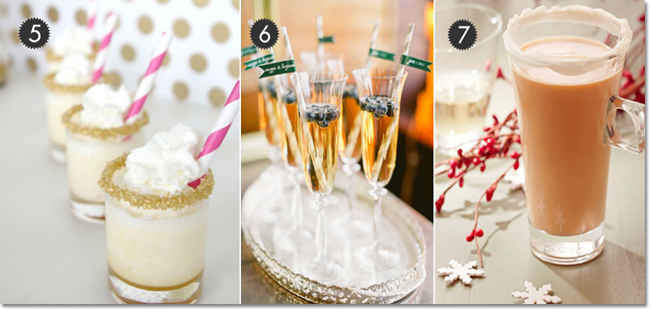 Cake shots, berries in champagne, and cinnamon cocktail