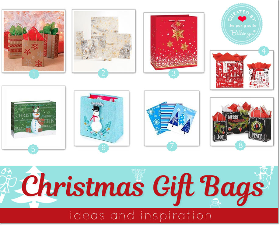 Christmas gift bag ideas featuring designs with snowman, chalkboard, gold, and nordic.