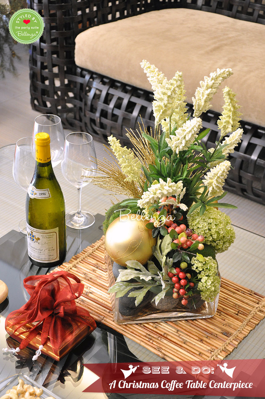 Christmas centerpiece in your living room // Styled by Bellenza.