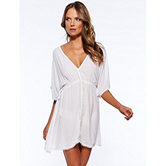 White Chiffon Cover Up with Drawstrings