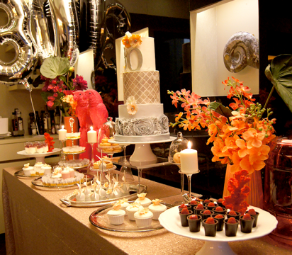 30th birthday party dessert table. Photo courtesy of Lima Limao.