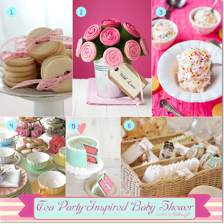 Tea party treats and decor for a baby shower // curated by Bellenza.