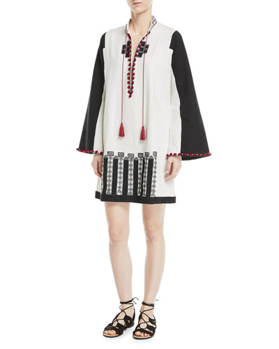 Moroccan Embroidered Tie-Neck Wide-Sleeve Tunic (from the Talitha Collection, via Neiman Marcus)