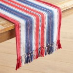 "4 -4th of July Dobby Striped 72"" Table Runner"