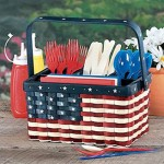3 - Patriotic Wooden Utensil Picnic Caddy