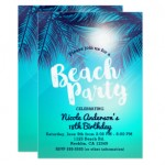 3 - Blue beach party with sunny Palm trees invite