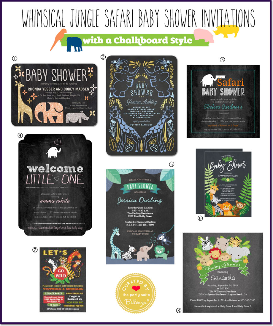 Safari Themed Baby Shower Invitations: Chalkboard Style!