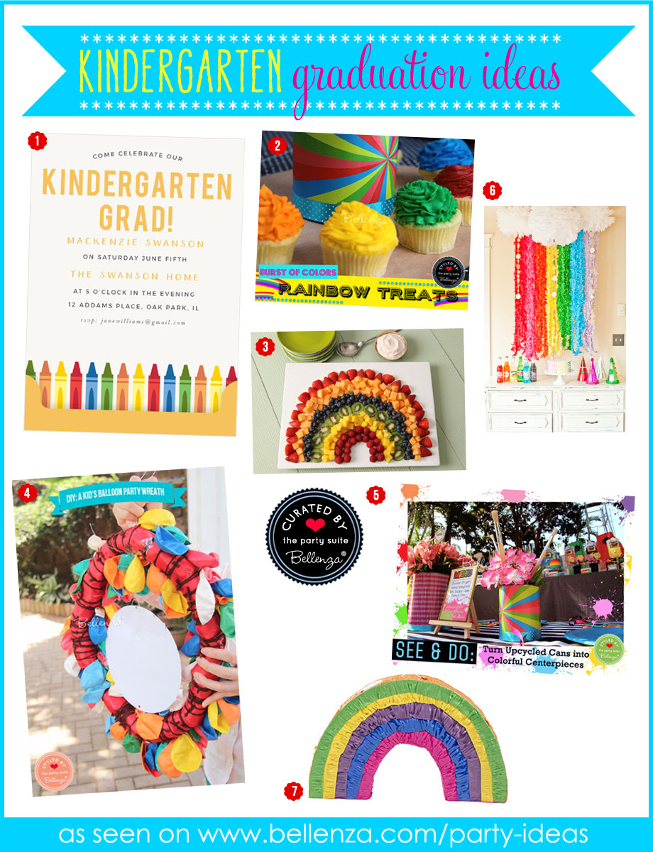 Rainbow-themed kindergarten graduation decorations ideas