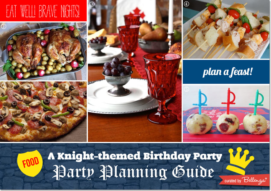 Serve roast turkey, pizza, and sword skewers for a knight party feast!