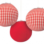 4 - Picnic Party Red Plaid Round Lanterns,