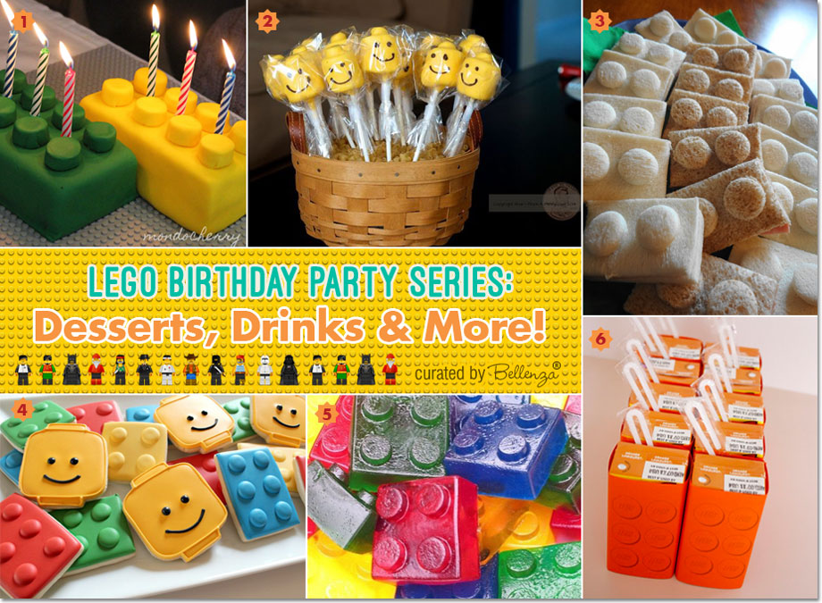 Lego party food ideas—from cakes and treats to sandwiches and drinks.  #legobirthdayparty #legopartytheme #lego