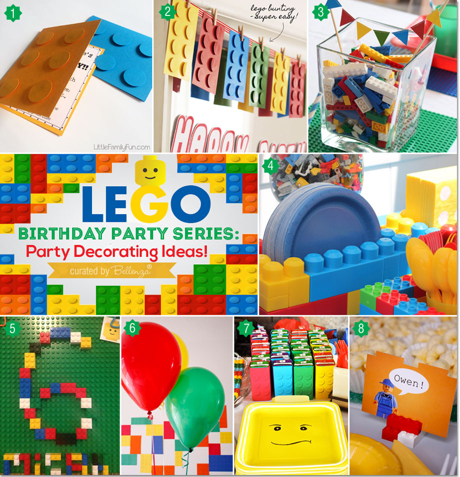 ideas for throwing a fun lego themed birthday party as featured on the party suite - Party Decorating Ideas