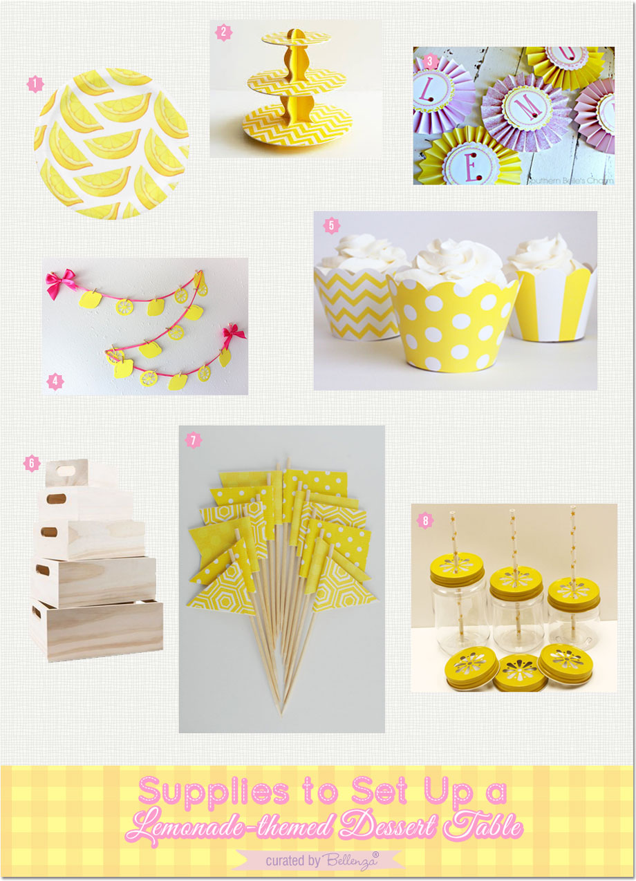 Lemonade stand supplies| as featured on the Party Suite at Bellenza. #lemonthemedparty #lemonadedesserttables