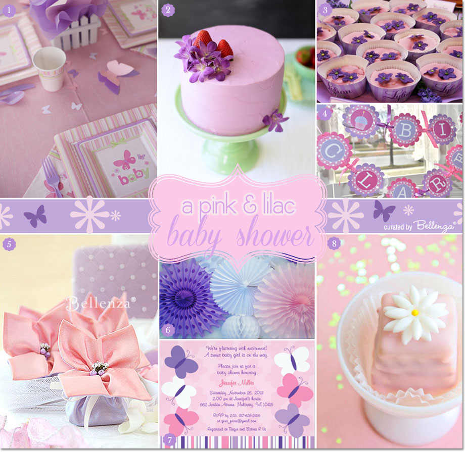 a pink and lilac baby shower with butterflies and flowers, Baby shower