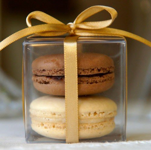 #15 Vanilla and chocolate macarons packaged in a clear acetate square box with ribbons. Ships from and sold by Cheerico LLC. Available on Amazon.