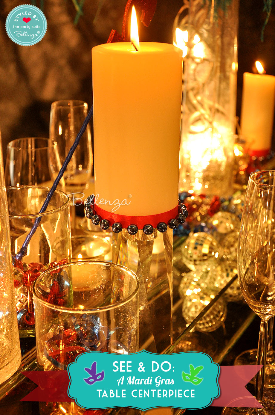 Pillar candle on stand for Mardi Gras centerpiece.