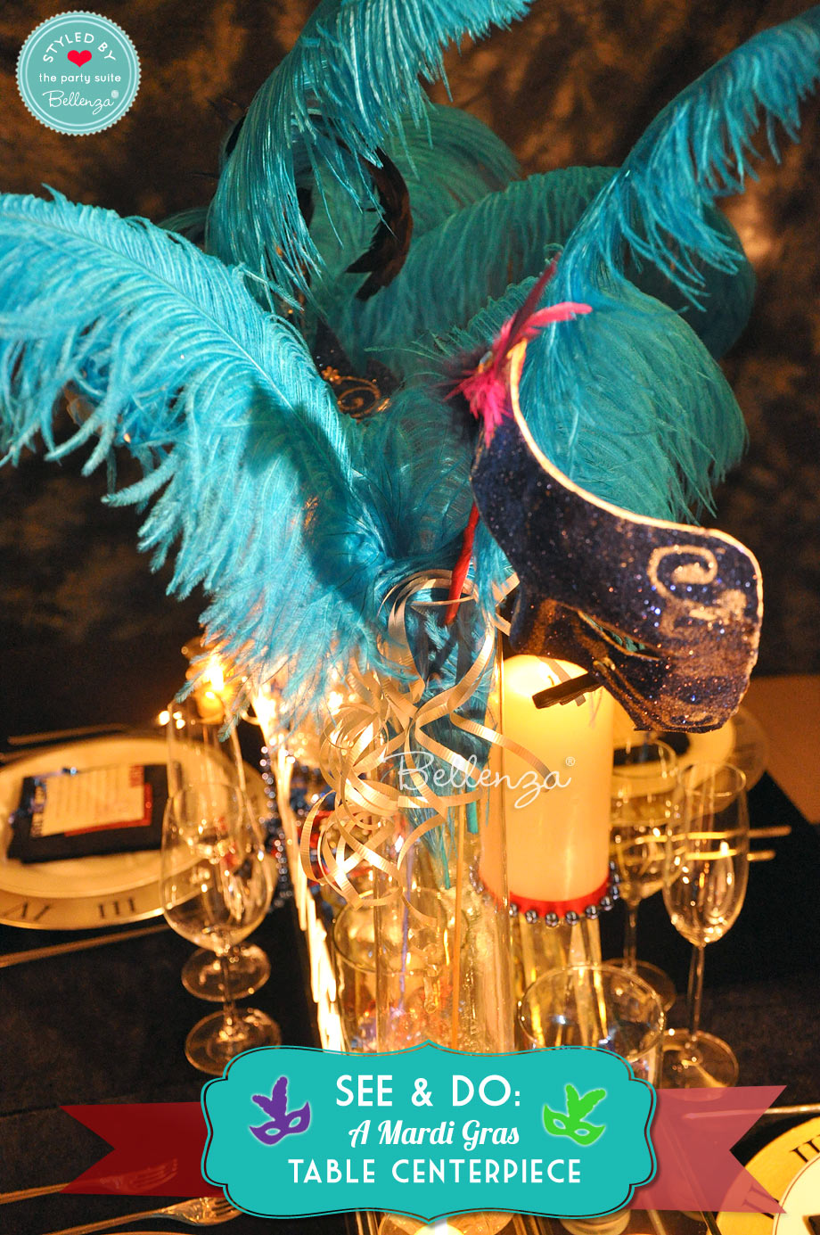 Teal colored Mardi Gras feathers.