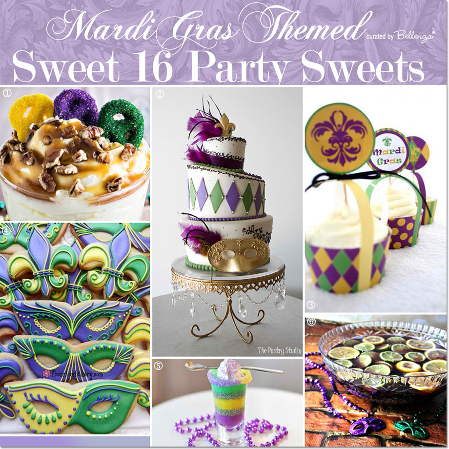 Mardi Gras Sweet 16 Sweets // Curated by Bellenza.