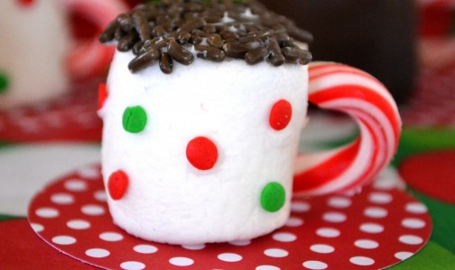 Marshmallow with candy cane. Photo credit: Crissy Crafts