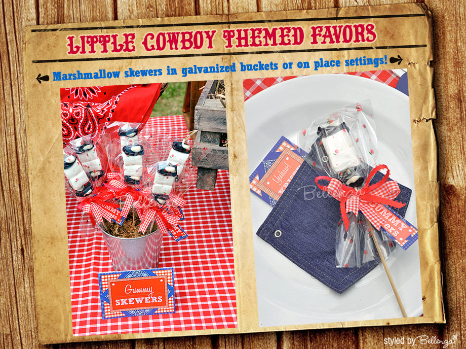 Marshmallow skewers for a cowboy themed party