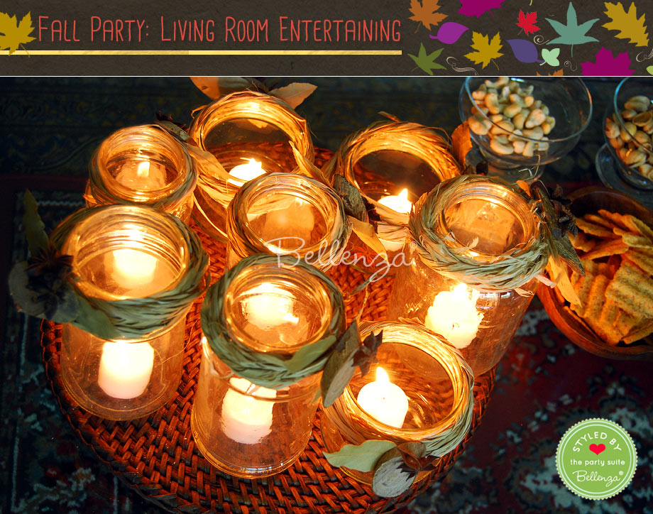 Glass votive centerpieces for fall // styled shoot by Bellenza