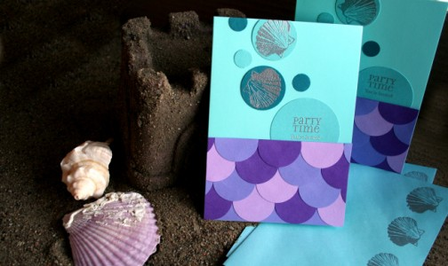 Mermaid invitation in purple and aqua by Denna's Ideas