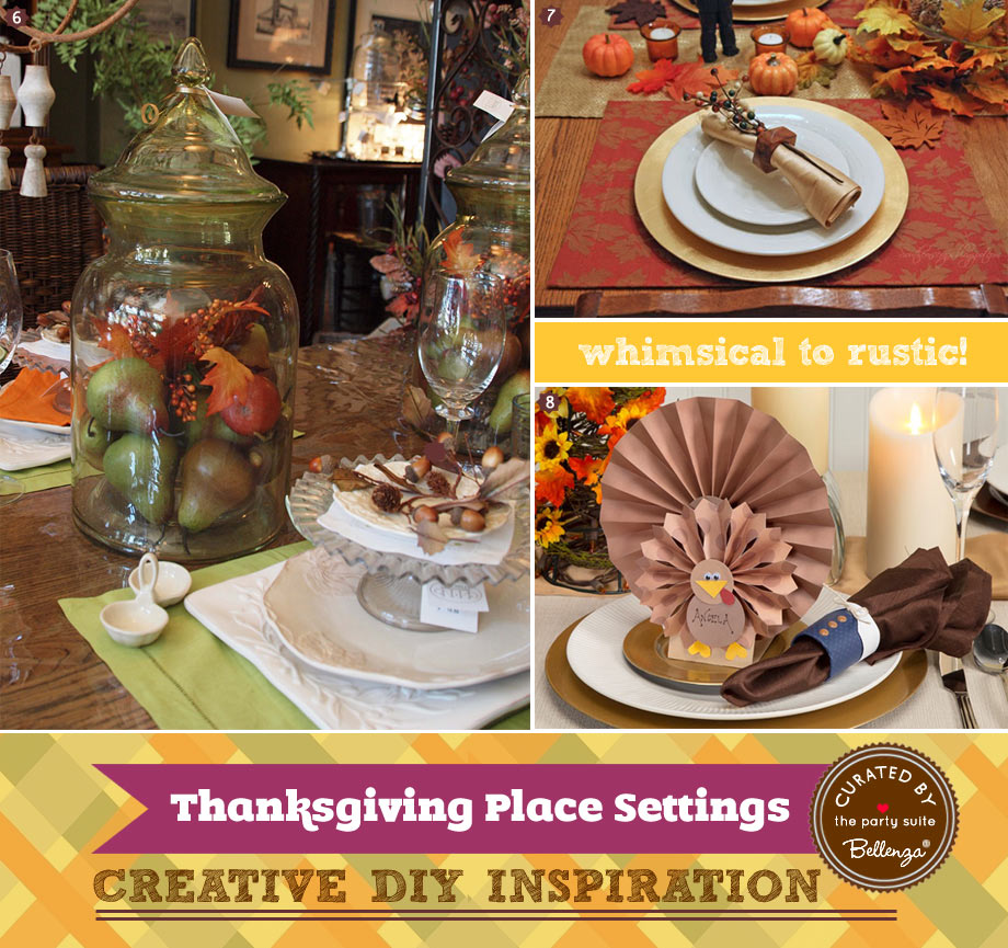 Modern rustic Thanksgiving place settings with turkey cutouts, faux twigs, and berries.