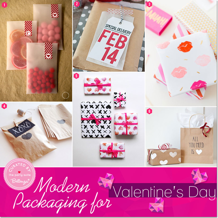 Modern Packaging for Valentine's Day Favors and Gifts -- featured on Bellenza Party Suite