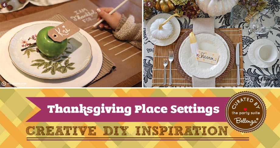 Natural and simple Thanksgiving place settings with apples and leaves.