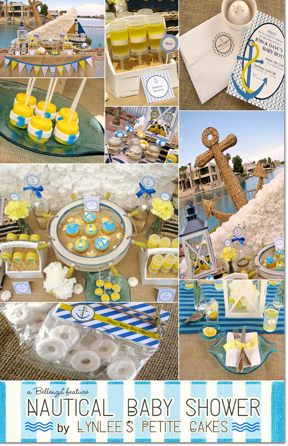 Nautical Baby Shower with styling, desserts, and photography done by Lynlee's as featured on the Party Suite at Bellenza