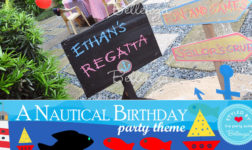 Ethan's Regatta, a nautical sign made of wooden planks.