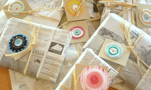 Newspapers used as gift tags