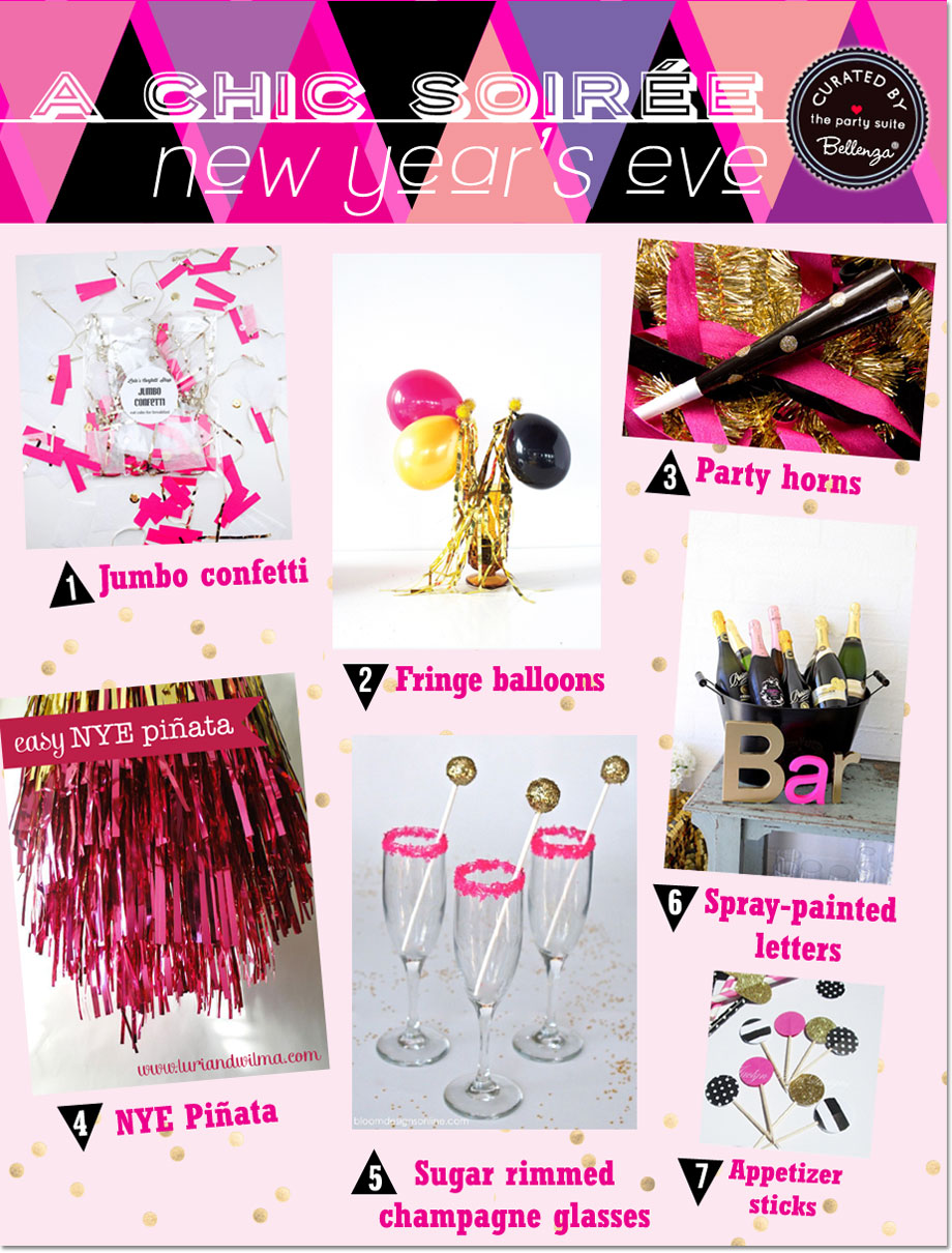 Party-ready NYE Decorations in Cherry Pink, Black and Gold!