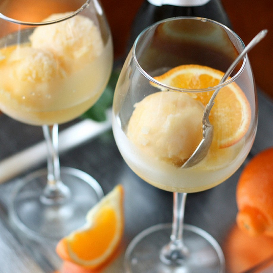 Champagne orange sorbet. Photo credit: Completely Delicious.