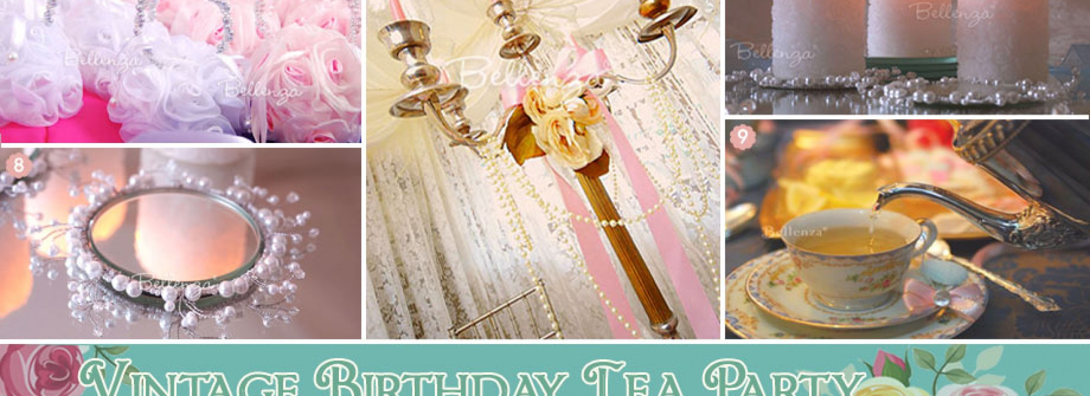 Pearls, roses, and lace birthday tea party with vintage decorations.