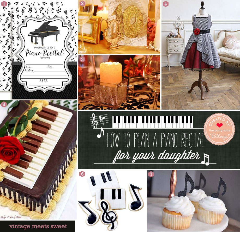 Piano recital party decor and desserts